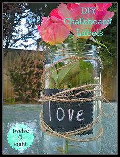 How to make chalkboard labels using chalkboard spray paint and avery labels (and scrapbooking scissors, if you want decorative edges).  Wouldn't these be great for a classroom?