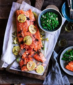 Lower Excess Fat Rooster Recipes That Basically Prime Slow-Cooked Ocean Trout With Peas, And Meyer Lemon And Fennel Salsa Recipe, Danielle Alvarez :: Gourmet Traveler Easter Fish Recipes, Best Fish Recipes, Trout Recipes, Chef Recipes, Cooking Recipes, Healthy Recipes, Recipies, Recipes Dinner, Healthy Food