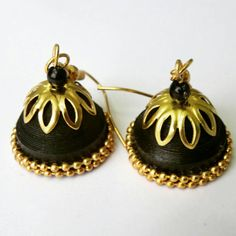 Premium gold and black indian traditional jhumkas Quilling Earrings, Quilling Jewelry, Black Indians, Golden Color, Hobbies And Crafts, Jewelry Ideas, My Etsy Shop, Collections, Traditional