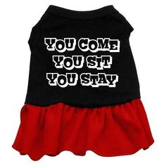 You Come, You Sit, You Stay Screen Print Dress Black with Red XL (16)