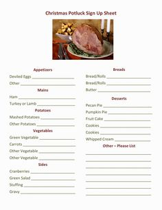 7 Best Potluck Sign Up Sheet Images Christmas Potluck Church