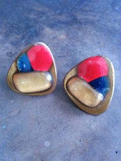 Kay Denning Enameled Blue, red and copper earrings by RoseMariesAntiques on Etsy