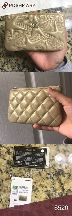 Chanel Gold O Case w/ RECEIPT AND TAGS! I'm selling my lambskin metallic gold o case which includes everything pictured! Super cute never used, but it was the store display item. Super lovely and luxurious <3 ONLY SELLING THROUGH POSHMARK! And considering posh takes 20% I have to upcharge on the price CHANEL Accessories
