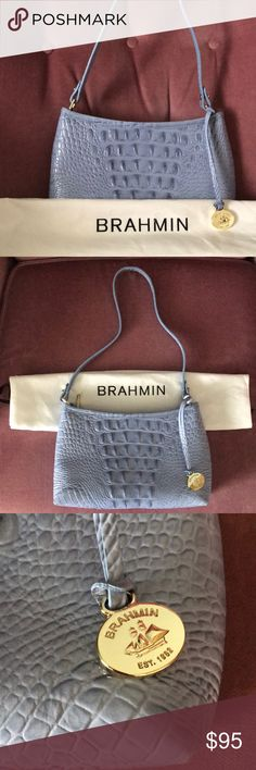 946184c2dcf3 NWOT Brahmin Anytime Mini Periwinkle Melbourne NWOT Brahmin Anytime Mini  Periwinkle Melbourne Gold Hardware with Dust