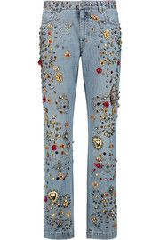Dolce & Gabbana Embellished mid-rise straight-leg jeans