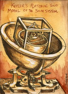 "Joshua Werner's ""Kepler's Platonic Solid Model of the Solar System"" Sketchcard for Viceroy's Space set. Click the link to see all of the Werner ACEO cards!"