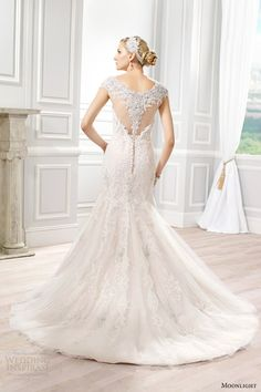 moonlight bridal couture spring 2015 style h1275 fit flare beaded cap sleeve wedding dress ivory taupe back view