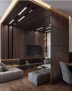 Get onboard with the wood slat wall trend with this luxurious home interior; featuring wood slat dividing walls, wall panel design and wood ceiling ideas. Loft Interior, Apartment Interior, Luxury Interior, Wood Slat Wall, Wood Slats, Wood Paneling, Interior Design Games, Interior Design With Wood, Interior Ideas