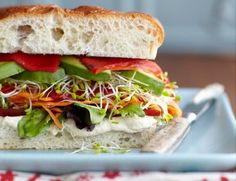 SLOPPY COL (vegan) SANDWICH 1 loaf foccaccia or 4 fresh whole- wheat 1 bunch alfalfa sprouts 2 or 3 carrots, shredded Hummus tomato slices mixed greens avocado salt&pepper roasted red pepper strips Entree Recipes, Vegan Recipes Easy, Raw Food Recipes, Food Tips, Vegan Vegetarian, Vegetarian Recipes, Vegetarian Sandwiches, Vegan Meals, Vegan Food
