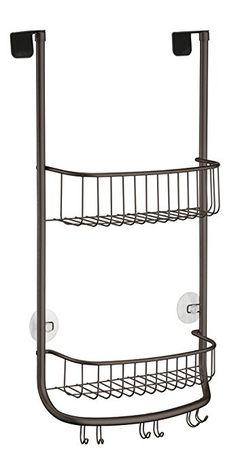 Amazon.com: mDesign Over the Door Bathroom Shower Caddy for Shampoo, Conditioner, Soap, Razor - 3 Hooks, Bronze: Home & Kitchen