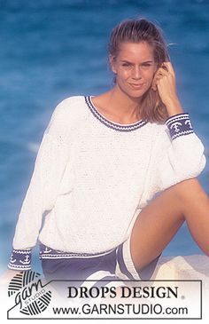 "DROPS nautical jumper in ""Muskat Soft"". Size S – L. ~ DROPS Design"