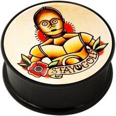 Flesh Plug - Stay Gold - Internally Threaded High Quality Black Acrylic - Sizes 8mm to 30mm. Sold Singularly.