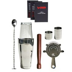 Boston Cocktail Bar Set w/ Wood Muddler, Check it out here: http://bacheloronabudget.com/kitchen/other/drinking/