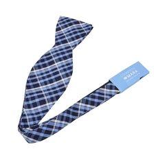 Countess Mara Men's Sea Brushed Shirt Plaid Bow Tie (OS, Navy)