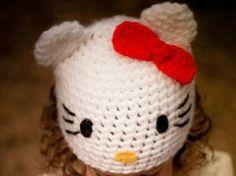 Super cute!!! Hello Kitty crochet hat pattern!
