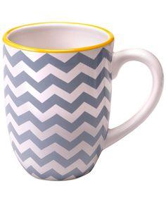 Closeout! Certified International Grey Chevron Mug