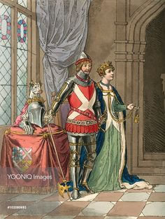 Ralph Neville, first earl of WESTMORLAND, with his second wife Joan Beaufort, daughter of John of Gaunt, duke of Lancaster. He is wearing his battle dress, she a fine gown.