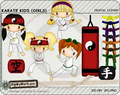 Karate Girls, martial arts, tae kwon, black belts and more colored clip art, for card making and scrapbooking by DigiMyWorld on Etsy https://www.etsy.com/listing/109448644/karate-girls-martial-arts-tae-kwon-black