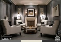 four chairs, round coffee table, love this room furniture arrangement. stunning