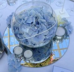 Blue Hydrangea Fishbowl Arrangement for a Wedding Reception Centrepiece with a mirrored stand | Booker Flowers and Gifts Liverpool | Wedding Flowers Specialists Liverpool