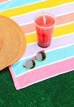 Perfect DIY design for your sunglasses. Just tape off your design, paint with nail polish, and sip your Blackberry Lemonade while it dries.