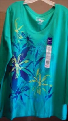 Women's Glitzy Tee, Size 5X, JMS, L/S V Neck, Green with Navy, Yellow, Springy! #JustMySize #GraphicTee