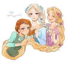 Elsa, Anna, and Rapunzel doing each other's hair.