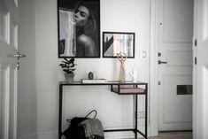 in the hallway hallway shelf, ikea vittsjo, minima Entryway Table Ikea, Ikea Hallway, Hallway Shelf, Console Table Styling, Console Tables, Ikea Vittsjo, English Interior, Gravity Home, Home Office Decor