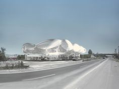 Image 1 of 6 from gallery of raumspielkunst Envisions Next Generation Gas Station in Chile. Courtesy of raumspielkunst Chile, Filling Station, Gas Station, Modern Architecture, Canopy, 1, The Incredibles, Clouds, Landscape