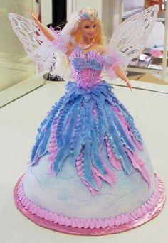 Barbie angel doll cake
