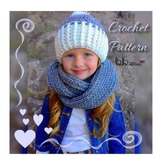 Infinity Scarf & Beanie Set  PATTERN ONLY Crochet  Size