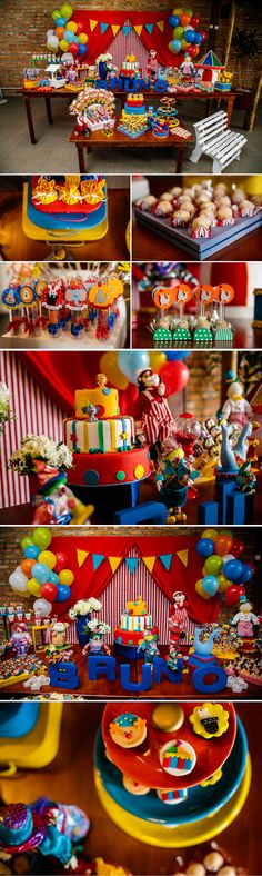 Festa Infantil Carnival Themed Party, Carnival Birthday Parties, Carnival Themes, Birthday Party Themes, Shared Birthday Parties, Baby 1st Birthday, Circus Birthday, Curious George Party, Clown Party
