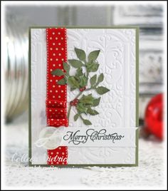 Dietrich Designs: Inspired By Stamping Challenge #39 - Christmas Holly. Like the ribbon and button.