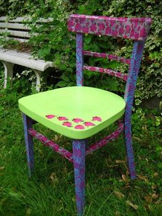 Chair makeover using Decopatch paper and glue.