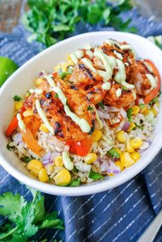 shrimp burrito bowl {chipotle shrimp burrito bowl} pick-your-own fresh ingredients to compliment the smoky chipotle shrimp! _{chipotle shrimp burrito bowl} pick-your-own fresh ingredients to compliment the smoky chipotle shrimp! Seafood Recipes, Mexican Food Recipes, Cooking Recipes, Healthy Recipes, Cooking Ideas, Easy Recipes, Surimi Sushi, Clean Eating, Healthy Eating