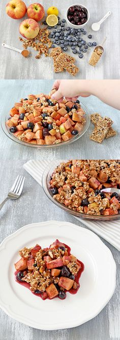 Gluten Free Apple Berry Cobbler: Warmed Udi's Ancient Grains granola bars are crumbled into a sweet mixture of pink lady apples, blueberries, cherries walnuts, cinnamon, lemon and brown sugar. Bake until golden for a healthy and nutrition-packed sweet dessert.