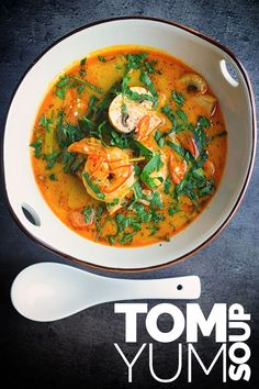 Tom yum soup is a Thai mainstay with thousands of versions of the recipe out there, this one is mine, characteristically (for me) spicy and warming and packed with shrimp and mushrooms, all ready and less than 30 minutes its a great week night dinner Seafood Soup, Seafood Recipes, Cooking Recipes, Thai Shrimp Soup, Asian Recipes, Healthy Recipes, Ethnic Recipes, Healthy Breakfasts, Keto Recipes