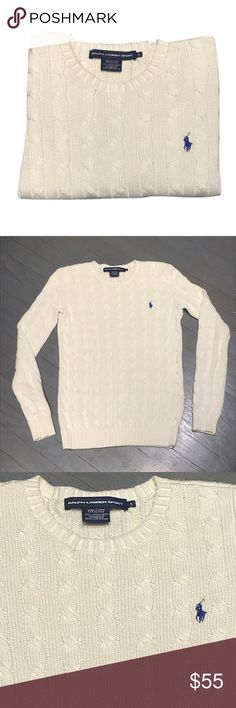 RL Sport Cream Cotton Cable Knit Crewneck Sweater Ralph Lauren RL Sport Cream Cotton Cable Knit Crewneck Sweater with royal blue little pony. White & Pale yellow for sale in other listings Ralph Lauren Sweaters Crew & Scoop Necks