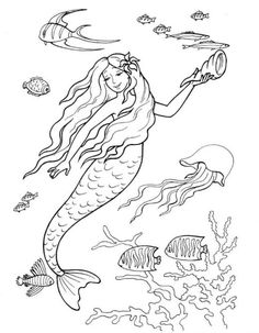 Printable Mermaid Coloring Pages Outline coloring sheets