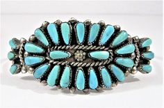 VINTAGE SIGNED ZUNI STERLING SILVER TURQUOISE PETIT POINT CUFF BRACELET 19.6g #ARTISAN #Cuff
