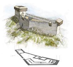 Castel del Monte Fantasy Concept Art, Fantasy Map, Medieval Fantasy, Chateau Medieval, Medieval Castle, Small Castles, Fantasy Castle, Fortification, Environment Design