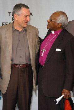 Robert De Niro and Archbishop Desmond Tutu during 3rd Annual Tribeca Film Festival Opening Press Conference at American Express Lobby at 3 World...