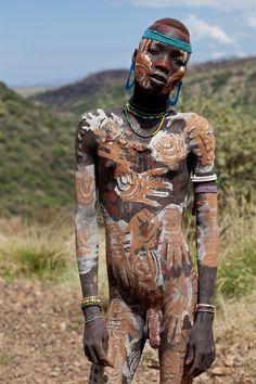 Mursi man, Omo valley, Ethiopia.