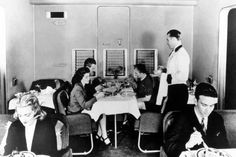 Dining aboard a Boeing 314 clipper flying boat.