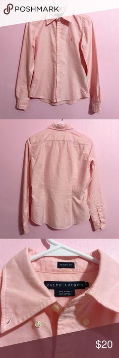 Ralph Lauren Button Down Shirt Never worn! •Brand: Ralph Lauren •Size: 6 •Color: Blush •Skinny Fit Ralph Lauren Tops Button Down Shirts