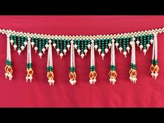 Best out of, pearls and beads, latest and easy Door hanging design. Amazing woolen craft idea, easy to make at home/ beautiful homemade creations idea नमस्का. Door Hanging Decorations, Wall Hanging Crafts, Paper Flowers Craft, Flower Crafts, Beaded Bracelet Patterns, Beading Patterns, Diy Arts And Crafts, Creative Crafts, Woolen Craft