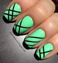 Green Stripes - Nail Art . Would like it better with another color like blue and black. .