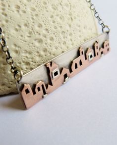 Houses necklace Sterling silver and copper metalwork