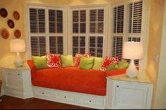Window seat storage for bay windows. Looks great!!!!!!