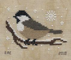 The+Little+Stitcher+-+Coal+Tit+-+January. Cross Stitch Christmas Ornaments, Xmas Cross Stitch, Cross Stitch Love, Cross Stitch Cards, Cross Stitch Borders, Cross Stitch Animals, Cross Stitch Flowers, Christmas Cross, Cross Stitch Designs